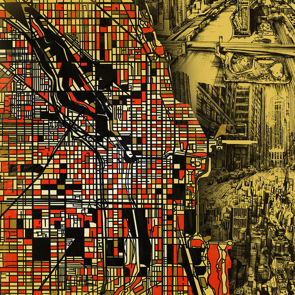 Chicago Skyline Art Digital Art - Chicago Map Drawing Collage 2 by Bekim M