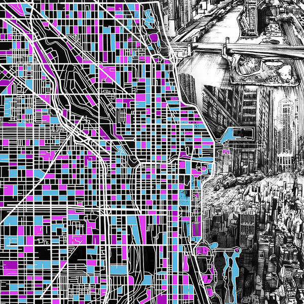 Vintage Chicago Painting - Chicago Map Drawing Collage 4 by Bekim Art