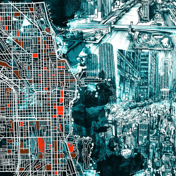 Chicago Skyline Art Digital Art - Chicago Map Drawing Collage by Bekim M