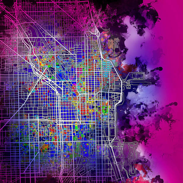 Vintage Chicago Painting - Chicago Map Purple Version by Bekim Art