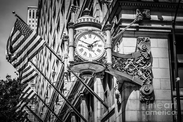 Editorial Photograph - Chicago Marshall Fields Clock In Black And White by Paul Velgos