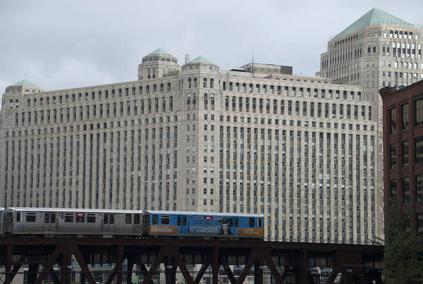 Wall Art - Photograph - Chicago Merchandise Mart And Cta El Train by Thomas Woolworth