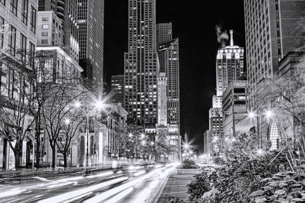 Chicago Michigan Avenue Light Streak Black And White Art Print