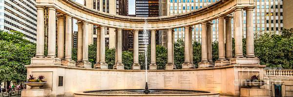 Millenium Photograph - Chicago Millennium Monument Wrigley Square Panorama Photo by Paul Velgos