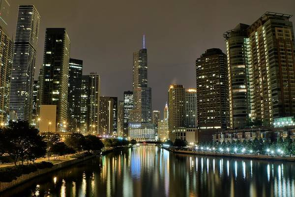 Wall Art - Photograph - Chicago Night River View by Frozen in Time Fine Art Photography