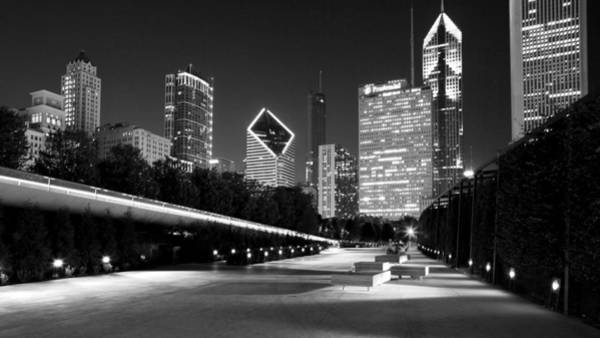 Chicago Night Skyline Black White Art Print