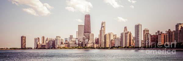 Chicago Panorama Retro Photo Art Print