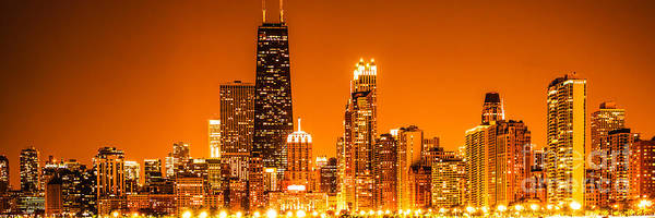 Chicago Panorama Skyline At Night Orange Tone Art Print