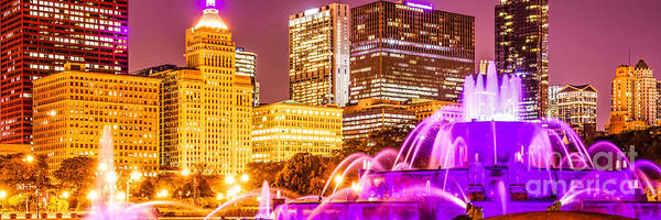 Chicago Skyline Art Photograph - Chicago Panorama With Buckingham Fountain  by Paul Velgos