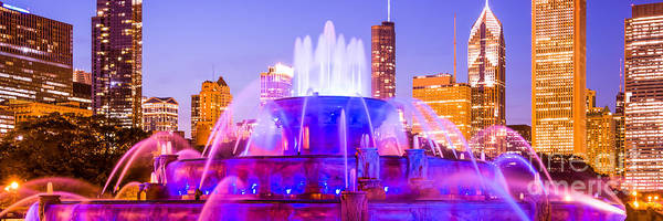 Chicago Panoramic Picture With Buckingham Fountain  Art Print by Paul Velgos