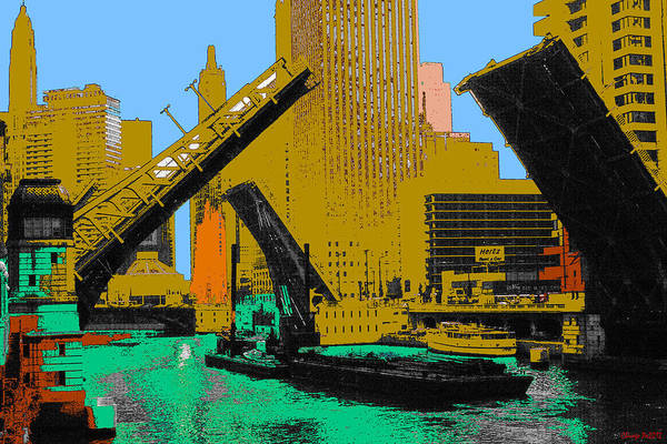 Painting - Chicago Pop Art 66 - Downtown Draw Bridges by Peter Potter