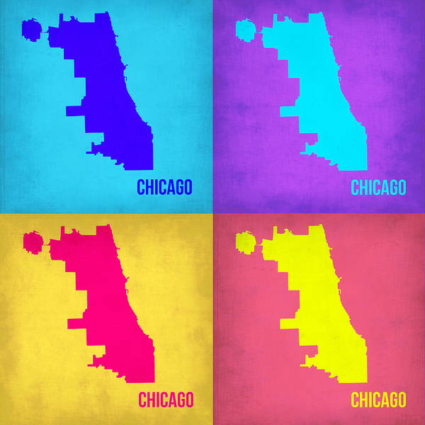 Wall Art - Painting - Chicago Pop Art Map 1 by Naxart Studio