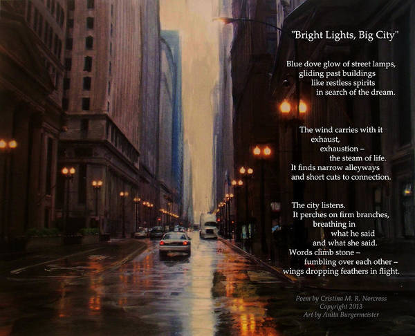Mixed Media - Chicago Rain Bright Lights Big City by Anita Burgermeister