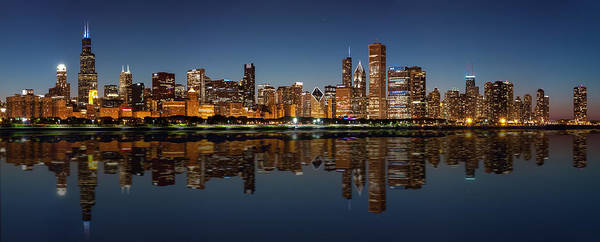 City Scape Photograph - Chicago Reflected by Semmick Photo