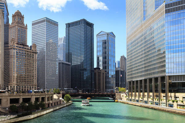 Chicago Photograph - Chicago River And Cityscape by Fraser Hall