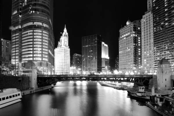 Chicago River Bridge Skyline Black White Art Print