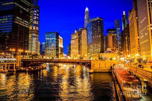 Chicago River Buildings At Night Picture Art Print