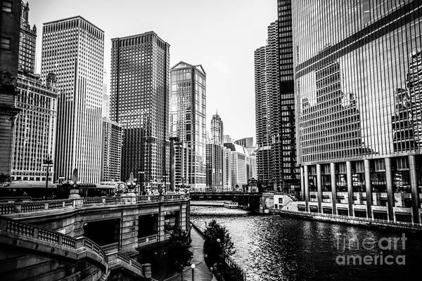 Chicago River Buildings In Black And White Art Print