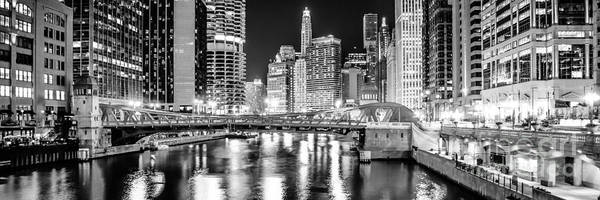 Chicago River Photograph - Chicago River Clark Street Bridge At Night Panorama Photo by Paul Velgos