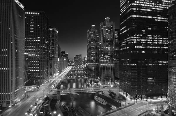 Michigan Ave Photograph - Chicago River Lights B W by Steve Gadomski