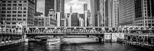 Wall Art - Photograph - Chicago River Panorama Black And White Picture by Paul Velgos