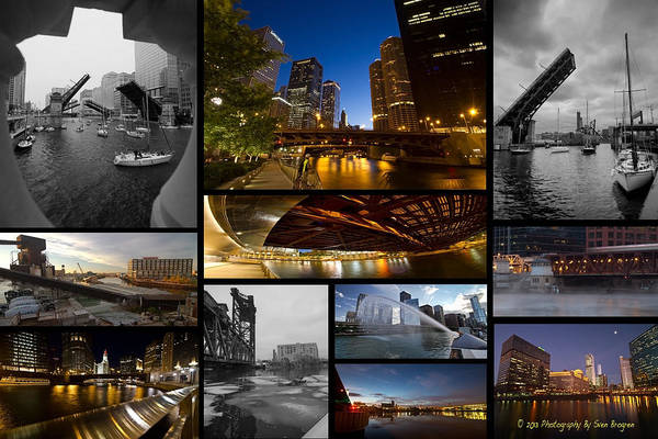 Photograph - Chicago River Photo Collage by Sven Brogren