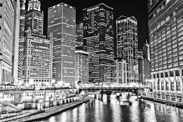 Wall Art - Photograph - Chicago River Skyline At Night Black And White Picture by Paul Velgos