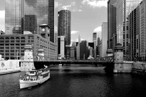Chicago River Skyline Bridge Boat Art Print