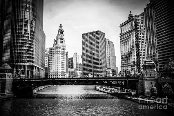 Wabash Avenue Wall Art - Photograph - Chicago River Skyline In Black And White by Paul Velgos