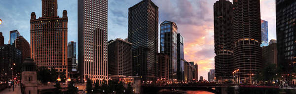 Wabash Avenue Wall Art - Photograph - Chicago River Sunset Pano 001 by Lance Vaughn