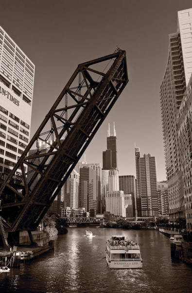 Railroad Bridge Photograph - Chicago River Traffic Bw by Steve Gadomski