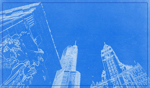 Painting - Chicago Riverfront Blueprint by Celestial Images
