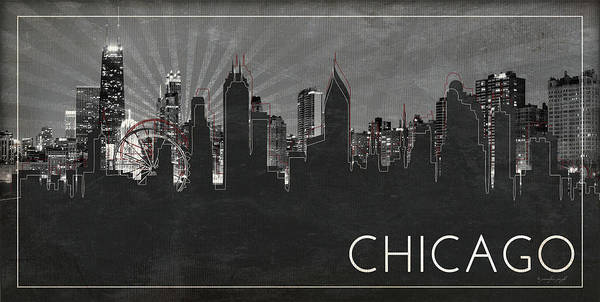 Chicago Black White Wall Art - Painting - Chicago Silhouette by Jennifer Pugh