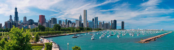 Lake Shore Wall Art - Photograph - Chicago Skyline Daytime Panoramic by Adam Romanowicz