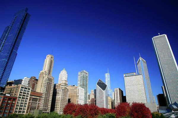 Millennium Park Photograph - Chicago Skyline And Millennium Park by Hisham Ibrahim