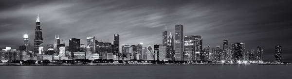 Midwest Photograph - Chicago Skyline At Night Black And White Panoramic by Adam Romanowicz