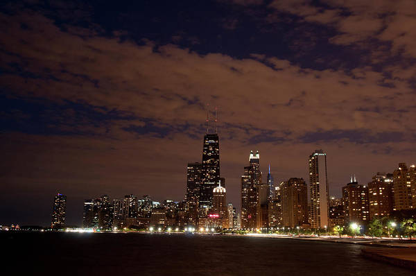 Alan Photograph - Chicago Skyline At Night From North by Alan Klehr