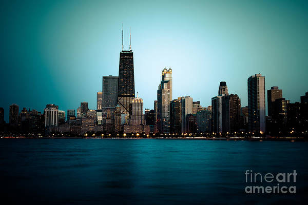 Chicago Skyline At Night Time Art Print