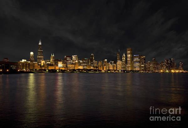 Wall Art - Photograph - Chicago Skyline At Night by Timothy Johnson