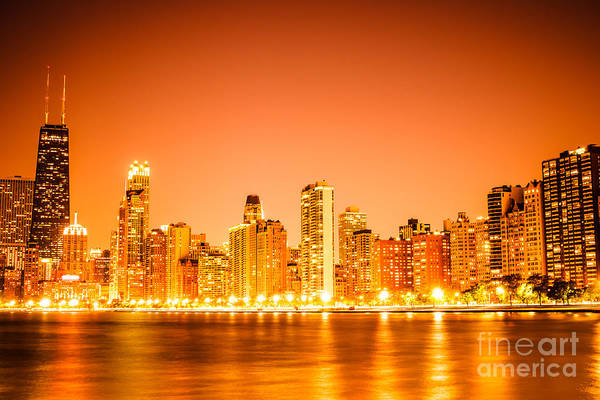 Wall Art - Photograph - Chicago Skyline At Night With Orange Sky by Paul Velgos