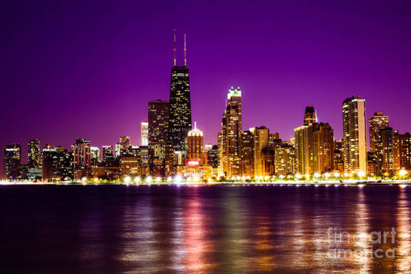 Chicago Skyline At Night With Purple Sky Art Print