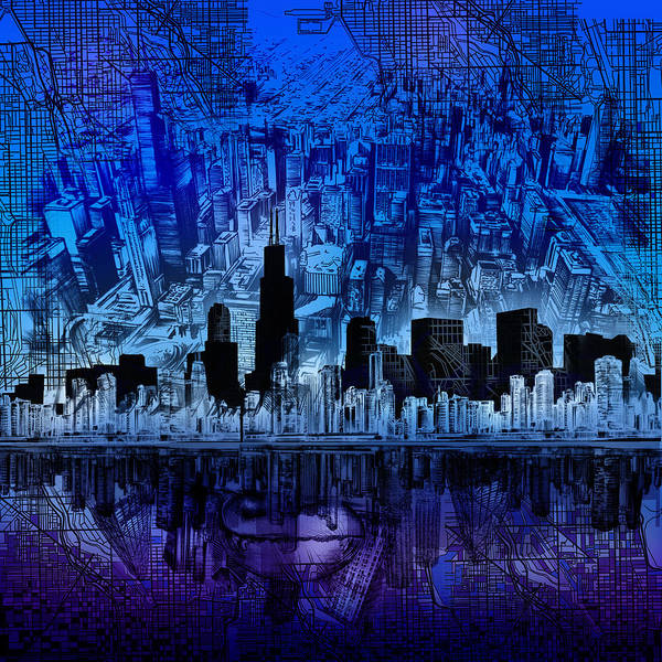Chicago Skyline Blue Version Art Print