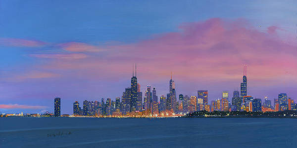 Wall Art - Painting - Chicago Skyline by Cecilia Brendel