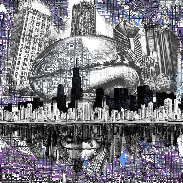 Chicago Art Digital Art - Chicago Skyline Drawing Collage by Bekim M