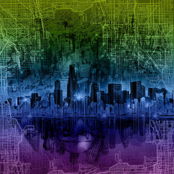 Chicago Skyline Gradient Version Art Print