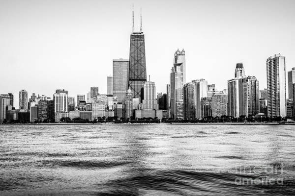 Chicago Skyline Hancock Building Black And White Photo Art Print