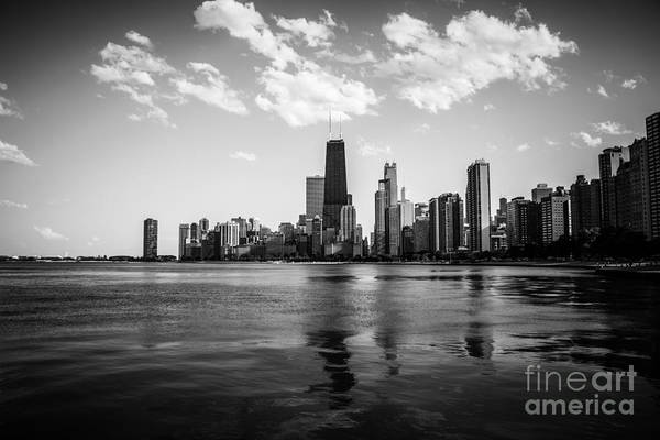 Chicago Skyline In Black And White Art Print