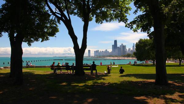 Photograph - Chicago Skyline Lakefront Park by Patrick Malon