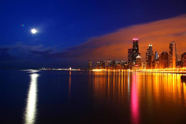 Chicago Skyline Moonlight Art Print