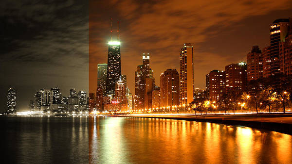 Photograph - Chicago Skyline Night Amber by Patrick Malon